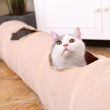 PAWZ Road sämisch Katzentunnel Katzenspielzeug Rascheltunnel Spieltunnel 120cm mit 2 Höhlen - 8