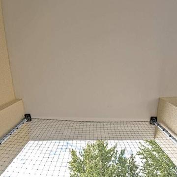 ALLEGRA Katzennetz für Balkon und Fenster, Katzenschutznetz mit Stangen Halterung, Set mit Netz Teleskopstange Spannstangen ohne Bohren zum Klemmen Drahtverstärkt Transparent Schwarz Grün - 3