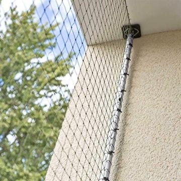 ALLEGRA Katzennetz für Balkon und Fenster, Katzenschutznetz mit Stangen Halterung, Set mit Netz Teleskopstange Spannstangen ohne Bohren zum Klemmen Drahtverstärkt Transparent Schwarz Grün - 4