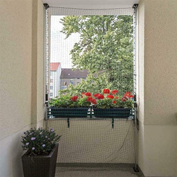 ALLEGRA Katzennetz für Balkon und Fenster, Katzenschutznetz mit Stangen Halterung, Set mit Netz Teleskopstange Spannstangen ohne Bohren zum Klemmen Drahtverstärkt Transparent Schwarz Grün - 7