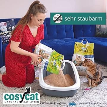 COSYCAT Klumpendes Bio-Katzenstreu aus Holz [100% Natürlich] – 40 l - in der Toilette entsorgbar – Klumpstreu pflanzlich - Holzstreu - 3