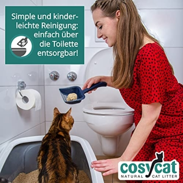 COSYCAT Klumpendes Bio-Katzenstreu aus Holz [100% Natürlich] – 40 l - in der Toilette entsorgbar – Klumpstreu pflanzlich - Holzstreu - 4