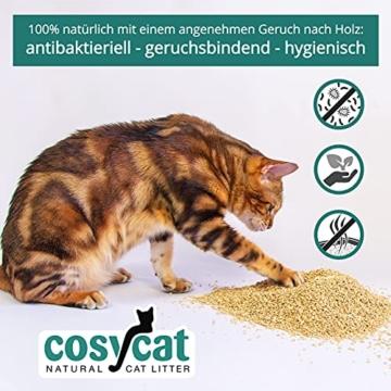 COSYCAT Klumpendes Bio-Katzenstreu aus Holz [100% Natürlich] – 40 l - in der Toilette entsorgbar – Klumpstreu pflanzlich - Holzstreu - 5