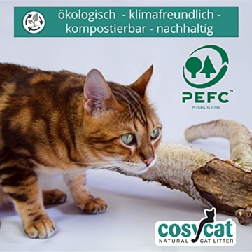 COSYCAT Klumpendes Bio-Katzenstreu aus Holz [100% Natürlich] – 40 l - in der Toilette entsorgbar – Klumpstreu pflanzlich - Holzstreu - 6