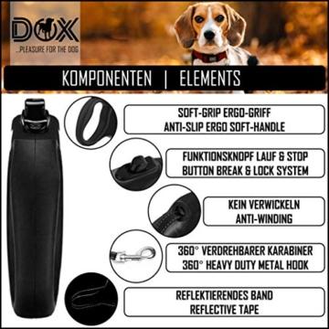 DDOXX Roll-Leine reflektierend, ausziehbar | viele Farben & Größen | für kleine & große Hunde | Gurt-Leine Hundeleine einziehbar Welpe Katze | Hundeleinen Zubehör Hund | S, 4 m, bis 10 kg, Blau - 2