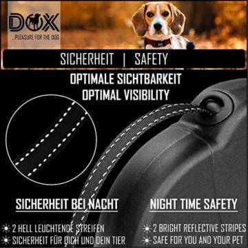 DDOXX Roll-Leine reflektierend, ausziehbar | viele Farben & Größen | für kleine & große Hunde | Gurt-Leine Hundeleine einziehbar Welpe Katze | Hundeleinen Zubehör Hund | S, 4 m, bis 10 kg, Blau - 3