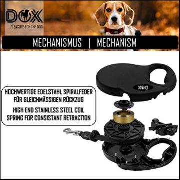 DDOXX Roll-Leine reflektierend, ausziehbar | viele Farben & Größen | für kleine & große Hunde | Gurt-Leine Hundeleine einziehbar Welpe Katze | Hundeleinen Zubehör Hund | S, 4 m, bis 10 kg, Blau - 4