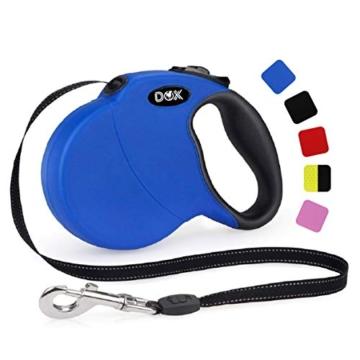 DDOXX Roll-Leine reflektierend, ausziehbar | viele Farben & Größen | für kleine & große Hunde | Gurt-Leine Hundeleine einziehbar Welpe Katze | Hundeleinen Zubehör Hund | S, 4 m, bis 10 kg, Blau - 1