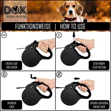 DDOXX Roll-Leine reflektierend, ausziehbar | viele Farben & Größen | für kleine & große Hunde | Gurt-Leine Hundeleine einziehbar Welpe Katze | Hundeleinen Zubehör Hund | S, 4 m, bis 10 kg, Blau - 5
