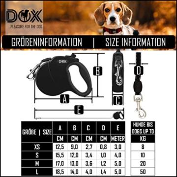 DDOXX Roll-Leine reflektierend, ausziehbar | viele Farben & Größen | für kleine & große Hunde | Gurt-Leine Hundeleine einziehbar Welpe Katze | Hundeleinen Zubehör Hund | S, 4 m, bis 10 kg, Blau - 6