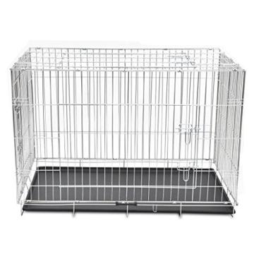 Faltbarer Hundekäfig aus Metall, strapazierfähig, für Welpen, Haustierkäfig, mit 3 Türen und Kunststoff-Bodenauskleidung, 121 x 74 x 83 cm - 2