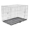 Faltbarer Hundekäfig aus Metall, strapazierfähig, für Welpen, Haustierkäfig, mit 3 Türen und Kunststoff-Bodenauskleidung, 121 x 74 x 83 cm - 1
