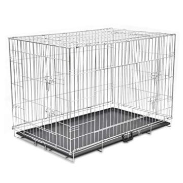 Faltbarer Hundekäfig aus Metall, strapazierfähig, für Welpen, Haustierkäfig, mit 3 Türen und Kunststoff-Bodenauskleidung, 121 x 74 x 83 cm - 4