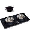 Futternapf Fressnapf für Hund und Katze Hundenapf Katzennapf aus Edelstahl mit Premium Silikon Unterlage Faltbarer Reise Napf Schwarz - 1