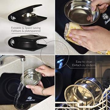 Futternapf Fressnapf für Hund und Katze Hundenapf Katzennapf aus Edelstahl mit Premium Silikon Unterlage Faltbarer Reise Napf Schwarz - 4