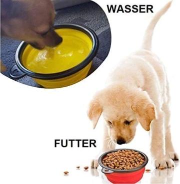 Futternapf Fressnapf für Hund und Katze Hundenapf Katzennapf aus Edelstahl mit Premium Silikon Unterlage Faltbarer Reise Napf Schwarz - 5