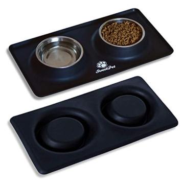 Futternapf Fressnapf für Hund und Katze Hundenapf Katzennapf aus Edelstahl mit Premium Silikon Unterlage Faltbarer Reise Napf Schwarz - 8