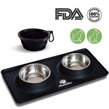 Futternapf Fressnapf für Hund und Katze Hundenapf Katzennapf aus Edelstahl mit Premium Silikon Unterlage Faltbarer Reise Napf Schwarz - 9
