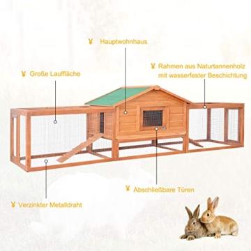 Pawhut Hasenstall Hasenkäfig Kaninchenstall Kaninchenkäfig Kleintierstall mit Freigehege L309 x B79 x H86cm - 5