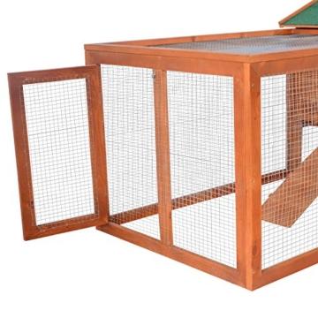 Pawhut Hasenstall Hasenkäfig Kaninchenstall Kaninchenkäfig Kleintierstall mit Freigehege L309 x B79 x H86cm - 9