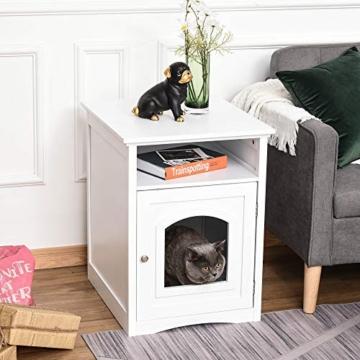 Pawhut Katzenschrank Katzenhaus Katzentoilette Holz Katzenklo Katzenbett mit magnetischer Tür MDF Weiß 54 x 48 x 64 cm - 2