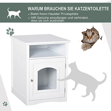 Pawhut Katzenschrank Katzenhaus Katzentoilette Holz Katzenklo Katzenbett mit magnetischer Tür MDF Weiß 54 x 48 x 64 cm - 3