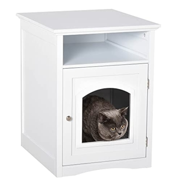 Pawhut Katzenschrank Katzenhaus Katzentoilette Holz Katzenklo Katzenbett mit magnetischer Tür MDF Weiß 54 x 48 x 64 cm - 1