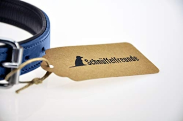 Schnüffelfreunde Lederhalsband Hund (XXL - 55-65cm, Blau) - 2