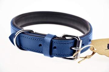 Schnüffelfreunde Lederhalsband Hund (XXL - 55-65cm, Blau) - 4