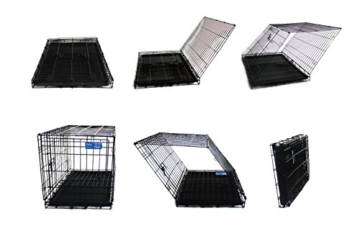 Simply Maison L   Hundekäfig   Transportbox   Drahtkäfig mit 2 Türen, schraubbaren Rollen und Tragegriff   ( 91,5cm x 58cm x 68,5cm ) - 4