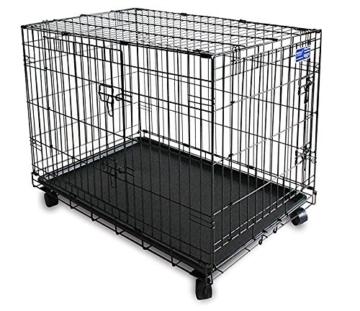 Simply Maison L   Hundekäfig   Transportbox   Drahtkäfig mit 2 Türen, schraubbaren Rollen und Tragegriff   ( 91,5cm x 58cm x 68,5cm ) - 1