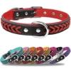 TagME Hundehalsband Leder für Kleine Hunde,Geflochtenes, Weich Gepolstert Hundehalsbänder mit Doppelten D-Ringen, Rot S - 1