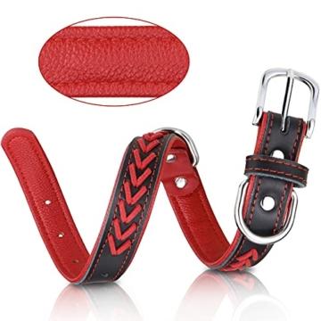 TagME Hundehalsband Leder für Kleine Hunde,Geflochtenes, Weich Gepolstert Hundehalsbänder mit Doppelten D-Ringen, Rot S - 3