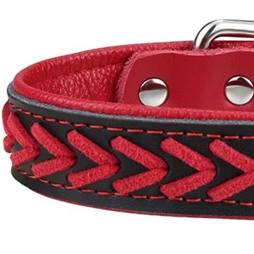TagME Hundehalsband Leder für Kleine Hunde,Geflochtenes, Weich Gepolstert Hundehalsbänder mit Doppelten D-Ringen, Rot S - 4