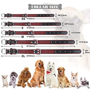 TagME Hundehalsband Leder für Kleine Hunde,Geflochtenes, Weich Gepolstert Hundehalsbänder mit Doppelten D-Ringen, Rot S - 5