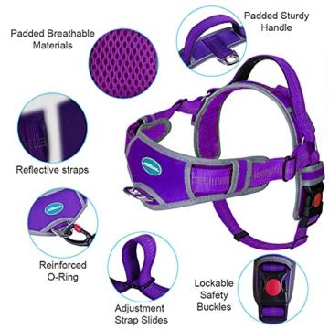 ThinkPet No Pull Hundegeschirr Atmungsaktives Sportgeschirr - Fluchtsichere, reflektierende, gepolsterte Hundesicherheitsweste mit rückseitigen/vorderen Griffklammern, leicht für das Lauftraining - 2