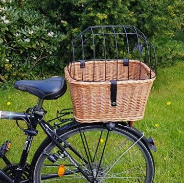 Tigana - Hundefahrradkorb für Gepäckträger aus Weide mit Gitter 44 x 34 cm Eckig Natur (N-S) (mit Kissen) - 2