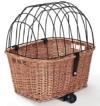 Tigana - Hundefahrradkorb für Gepäckträger aus Weide mit Gitter 44 x 34 cm Eckig Natur (N-S) (mit Kissen) - 1