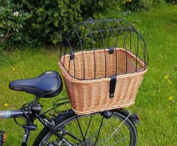 Tigana - Hundefahrradkorb für Gepäckträger aus Weide mit Gitter 44 x 34 cm Eckig Natur (N-S) (mit Kissen) - 3