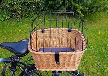 Tigana - Hundefahrradkorb für Gepäckträger aus Weide mit Gitter 44 x 34 cm Eckig Natur (N-S) (mit Kissen) - 4