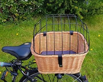 Tigana - Hundefahrradkorb für Gepäckträger aus Weide mit Gitter 44 x 34 cm Eckig Natur (N-S) (mit Kissen) - 5