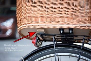 Tigana - Hundefahrradkorb für Gepäckträger aus Weide mit Gitter 44 x 34 cm Eckig Natur (N-S) (mit Kissen) - 8
