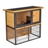 Pawhut Kaninchenstall erhöhtes Haustier Haus Kaninchenkäfig mit verschließbare Tür Holz-Metall Hellgelb 89,5 x 45 x 81 cm - 1
