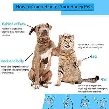 ACE2ACE Haustier Hundebürste Katzenbürste, Haustier Bürsten, Haar Entferner Haustierbürste für Langhaar und Kurzhaar, Sauberes Haustierhaar von der Bürste mit Einem Knopf - 4