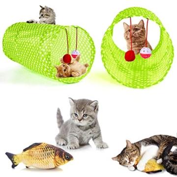 AILUKI 31 Stück Katzenspielzeug Set mit Grün Katzentunnel Jingle Bell Katzen Spielzeug Variety Pack für Kitty Grün - 2