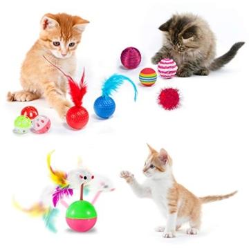 AILUKI 31 Stück Katzenspielzeug Set mit Grün Katzentunnel Jingle Bell Katzen Spielzeug Variety Pack für Kitty Grün - 3