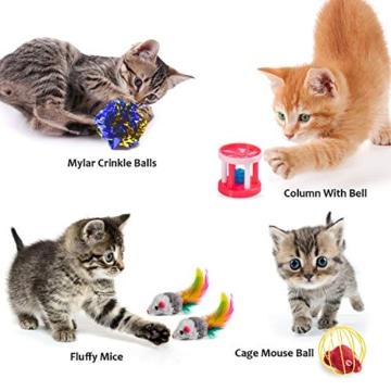 AILUKI 31 Stück Katzenspielzeug Set mit Grün Katzentunnel Jingle Bell Katzen Spielzeug Variety Pack für Kitty Grün - 4