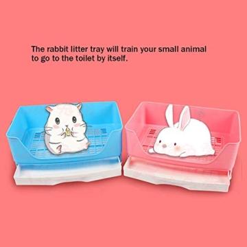 Baffect Corner Rabbit Litter Tray Ecke Toilette Haus, große Kaninchen Käfig Katzentoilette mit herausnehmbarer Schublade für Kleintier Kaninchen Meerschweinchen L (blau) - 2