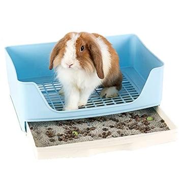 Baffect Corner Rabbit Litter Tray Ecke Toilette Haus, große Kaninchen Käfig Katzentoilette mit herausnehmbarer Schublade für Kleintier Kaninchen Meerschweinchen L (blau) - 1