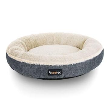 FEANDREA Hundebett, Hundekorb, Katzenbett, Donut, Ø 55 cm, dunkelgrau PGW055G01 - 1